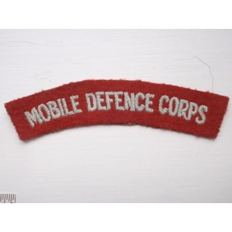 MOBILE DEFENCE CORPS Shoulder Title