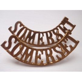 WW1 'SOMERSET' Brass Shoulder Titles