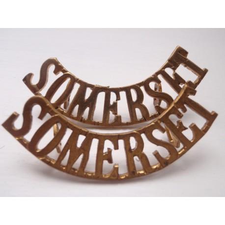 WW1 'SOMERSET' Brass Shoulder Titles