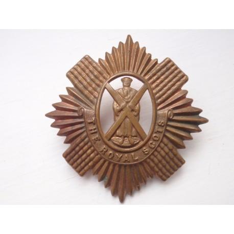 WW1 Brass Economy The Royal Scots Cap Badge