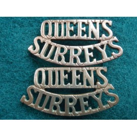 Queens Surreys Brass Shoulder Titles
