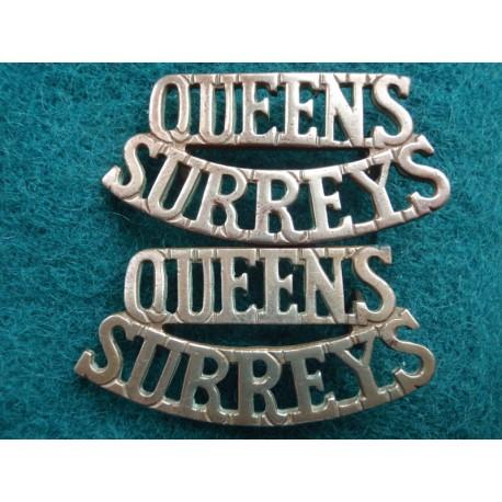 Queens Surreys Brass Shoulder Titles