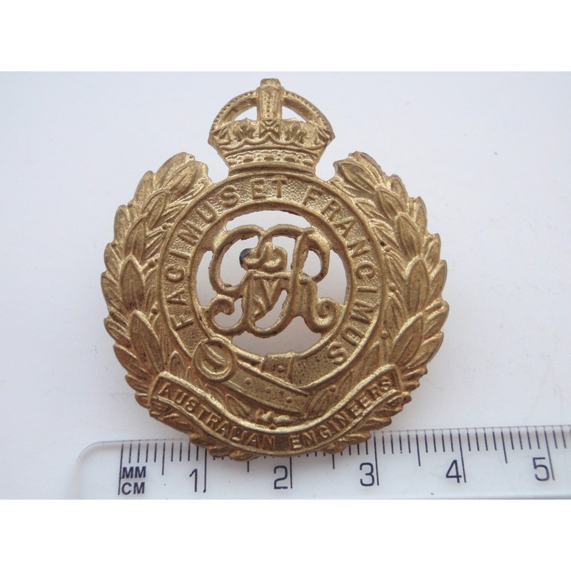 Ww1 Gilt Australian Engineers Hat Badge Gradia Military