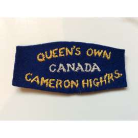 WW2 Queens Own Cameron Highlanders Of Canada Shoulder Title