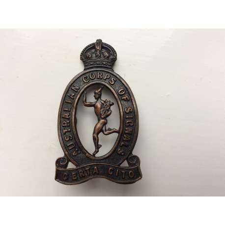 WW2 Australian Corps Of Signals Oxidised Cap badge