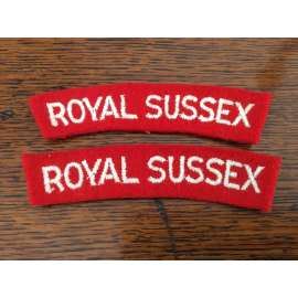 WW2 ROYAL SUSSEX Cloth Shoulder Titles