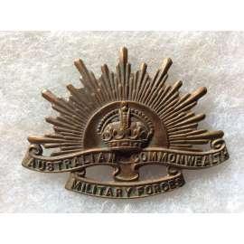 WW1 Australian Rising Sun Cap Badge with rear blade fixings