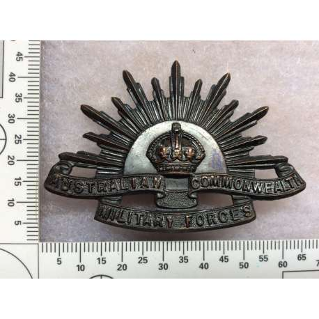 WW1/2 Rising Sun Hat Badge , dark Oxidised Version