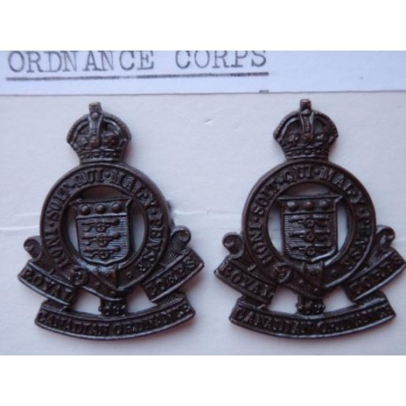 WW2 Officers Bronze Royal Canadian Ordnance Corps Collar Badges