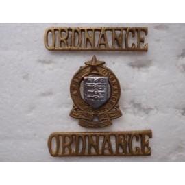 Pakistan Army Ordance b/m Cap Badge and Shoulder Titles