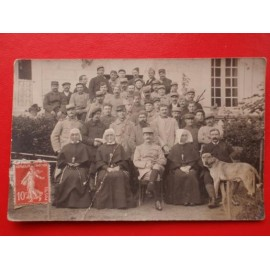 WW1 French Soldiers with Nuns Postcard