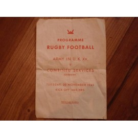 WW2 53rd Division, Army v Combined Services (Germany) Rugby Football Programme