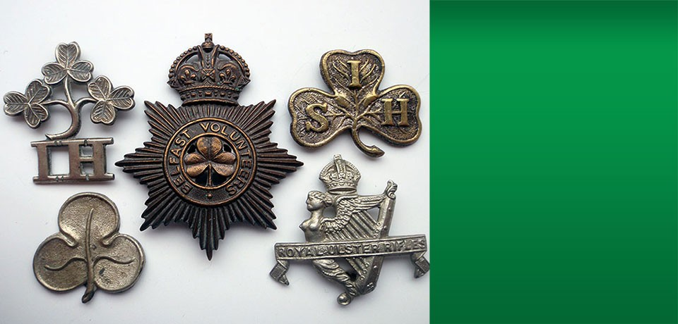 Irish regiments insignia, a small selection available